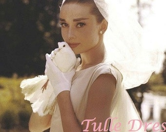 Audrey Hepburn in Wedding Dress with Veil Holding a Dove Custom Stationary, Bridesmaide Invites, Thank You Cards or Party Invitations