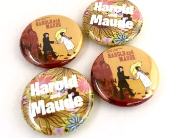 Harold and Maude 1inch Pinback Buttons or Magnets Bud Cort Ruth Gordon