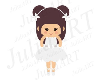 cartoon cute ballerina vector image, clip art