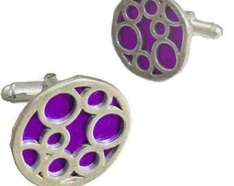 Round sterling silver purple bubble cufflinks