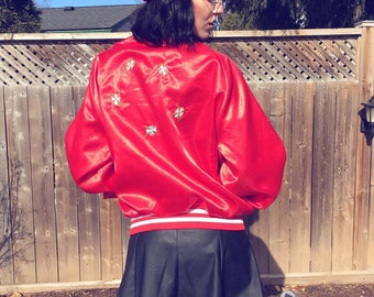 One of a kind hand embroidered vintage nylon bomber jacket