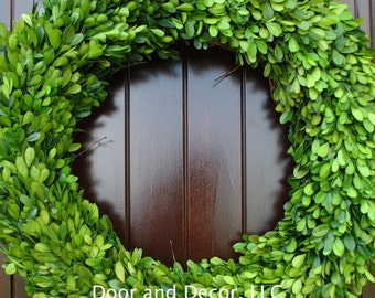 "Round Preserved Boxwood Wreath~24"" Diameter~Interior Decor~Natural Green~Spring Decoration~Summer~Year Round Wreath~Mother's Day Gift"