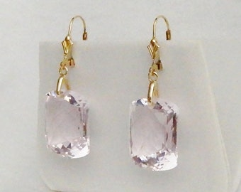 Natural 41cts Cushion CKB SOFT Pink Topaz gemstones, 14kt yellow gold Leverback Earrings