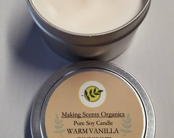Making Scents Organics Warm Vanilla Coconut  Soy Candle Made in Vermont with High Quality Oils.