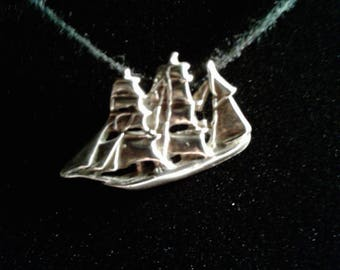 Antiqued Sterling Silver Clipper Ship Charm