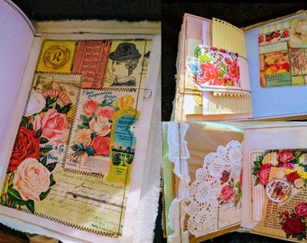 Shabby vintage open theme junk journal in summery colors_Imagine