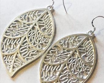 Beautiful Silver Leaf Earrings