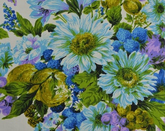 """Vintage Upholstery Fabric, Blue Floral Fabric, Cotton Floral Fabric Remnant, Retro Fabric, Home Decor Fabric - 30"""" x 39"""" - UF2681"""