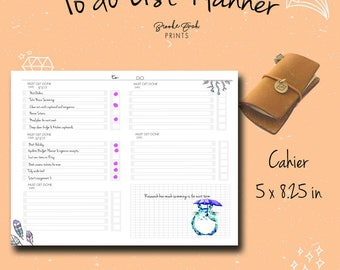 Cahier To Do List, Cahier Insert, Cahier Notebook, Cahier Fauxdori, Cahier TN,  Chicsparrow insert, Travelers Notebook, PDF