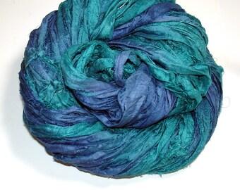 10YD. BLUE SEAS  Sari Silk Ribbon Bundle//Dyed Silk Sari Ribbon Bundle//Sari Tassels,Sari Wall Decor,Sari Fiber Jewelry,Sari Tapestry