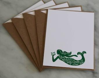 Mermaid Embossed Stationary | Nautical Notecard | Set of 5 Notecards | Mermaid Notecard | Nautical Mermaid Notecards | Green Mermaid