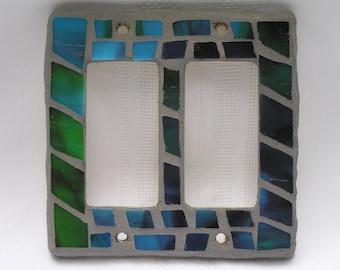 Mosaic Light Switch Plate - Blue/Green