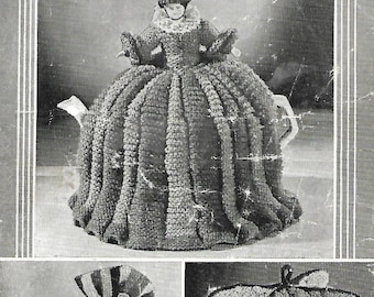 PDF knitting pattern 1940s tea cosies and egg cosy patterns Crinoline lady tea cosy striped tea and egg cosies instant download (131)