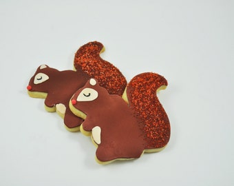 Squirrels - Autumn Cookies - Decorated Iced Sugar Cookies - Fall  - Forest - Woodland Wonderland - Friends - gift - cute