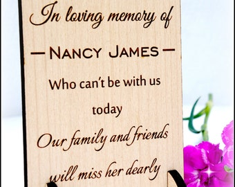Personalised wooden engraved wedding sign, in loving memory sign, wedding plaque, memorial sign, various sizes