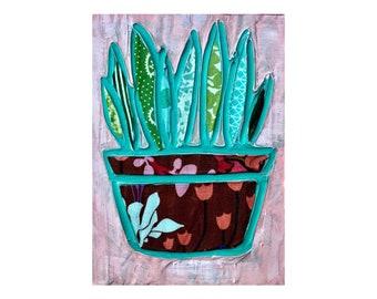 Cactus mixed media original painting 5x7