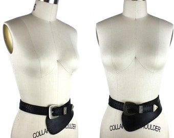 Black Leather Asymmetrical Belt with Silver Buckle