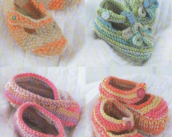 BABY KNITTING Pattern baby shoes birth to 2 years.. mary jane t bar dk yarn