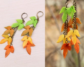 Fall jewelry Coworker gift for sister Leaf Drop earrings Leaf jewelry Best selling items Floral jewelry Botanical jewelry Gardening gift