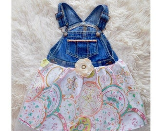 Girls overall denim tulle jean dress for baby and kids
