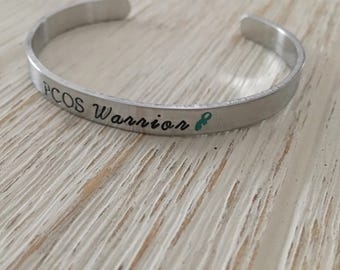 PCOS Jewelry, PCOS Awareness, Cervical Cancer, PCOS Warrior, Awareness Ribbon Jewelry, Personalized Cuff, Awareness Jewelry, Cancer Survivor