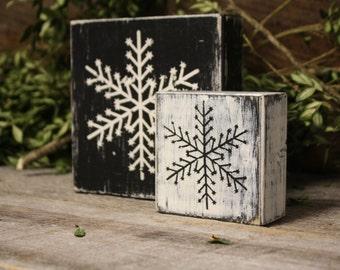 Snowflake Decor, Snowflake Blocks, Winter Décor, Snowflake Art, Wooden Snowflake Décor, Rustic Snowflake Décor, Christmas Décor