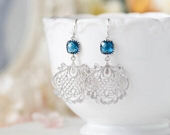 Navy Blue Earrings, Montana Blue Sapphire Silver Filigree Chandelier Earrings, Navy Wedding, Boho Chic Bohemian, September Birthday Gift