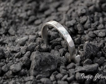 Sterling silver hammered band ring, 3mm x 1mm band ring, oxidized ring, friendship ring