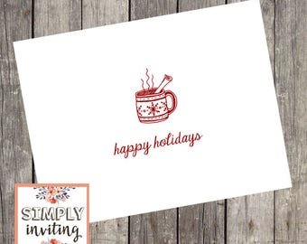 Hot Cocoa Holiday Cards, Set of 10, Personalized Greeting Cards, Seasons Greetings, Merry Christmas, Christmas Cards, Happy Holidays, Hygge