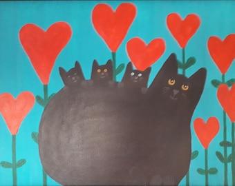 Cat art, Cat Painting, original art, original painting, Acrylic, canvas