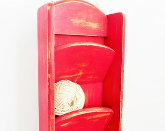 Modern Farmhouse - Mail Holder - Cheerful Red - Hanging Organizer with Hooks