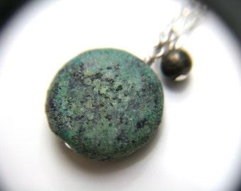 Raw Turquoise Necklace . Turquoise Healing Pendant Necklace . African Turquoise Necklace . Turquoise Natural Stone