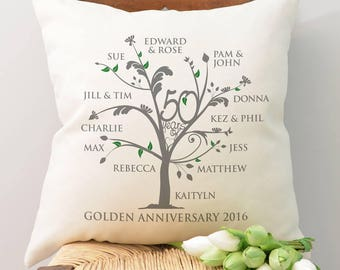 Personalised Golden Anniversary Family Tree Cushion