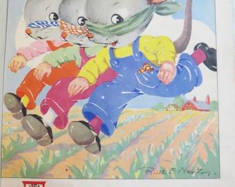 Vintage Ruth Newton Nursery Rhyme Book Print-Three Blind Mice