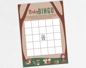 INSTANT DOWNLOAD Baby Bingo Card, Baby Shower Bingo, Baby Bingo PDF, Diy, Baby Shower Game, Woodlands, Owl, Fox, Bear, Deer, Raccoon, Forest