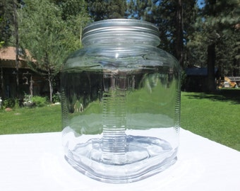 Glass Storage Jar, Extra Large Vintage Jar with Shiny Metal Lid and Art Deco Lines