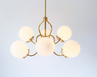 etsy lighting. Brass Chandelier Lighting Fixture, Pendant Lamp, 6 White Glass Globes On Fluted Arms Etsy N