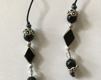 Book marker with black glass beads