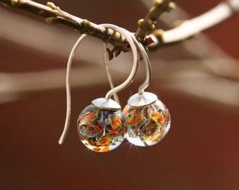 Lampwork and silver earrings, Red, Blue, Green, Yellow, Glass Earrings, Ocean Earrings, Artisan lampwork bead 3D, Earrings Lampwork Aquarium