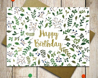 Happy Birthday Card, Birthday wishes, Watercolor Greeting card, Custom Greeting card, Card for friend, Floral card with green leaves
