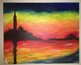 Sunset in Venice Acrylic Painting