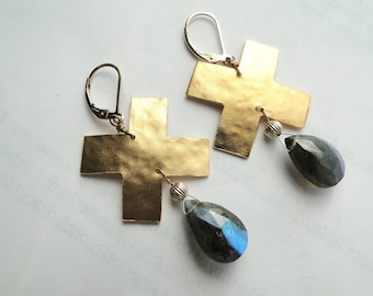Labradorite with Gold Cross Earrings