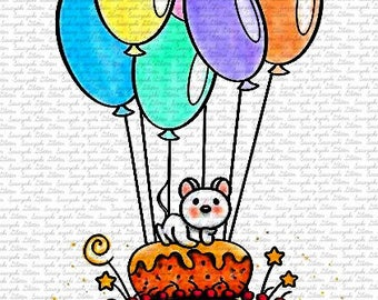Birthday Cake Mouse By Sasayaki Glitter Digital Stamps. Black and White Only