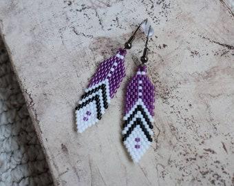 Deep Purple Feather Earrings