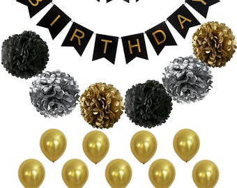 BLACK and GOLD Party Decorations -| Black,Gold Balloons and Paper Pom Poms | 30th, 40th, 50th, 60th Birthday