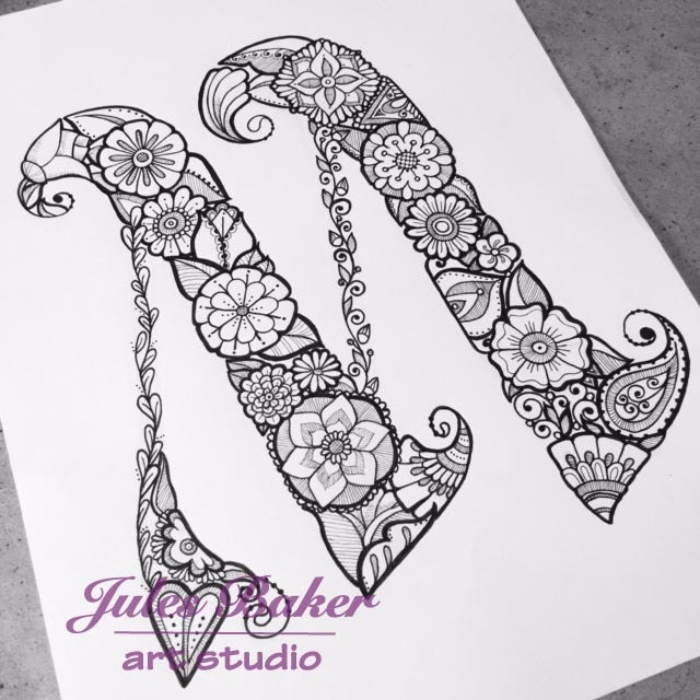 Digital Coloring Page Letter M From