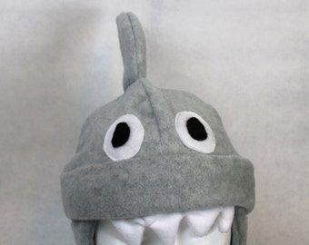 Adult Fleece Shark Hat, Shark Hat For Men, Shark Hat For Women, Winter Shark Hat, Adult Size Shark Hat, Cute Shark Gift, Shark Lover Gift