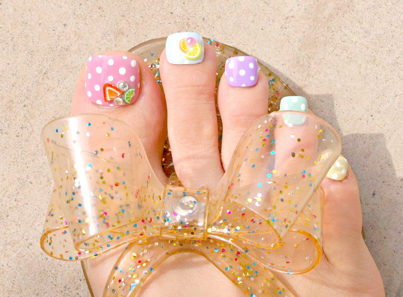 Toe nails, pastel, rainbow, Harajuku, polka dot, fruit, pearl ...