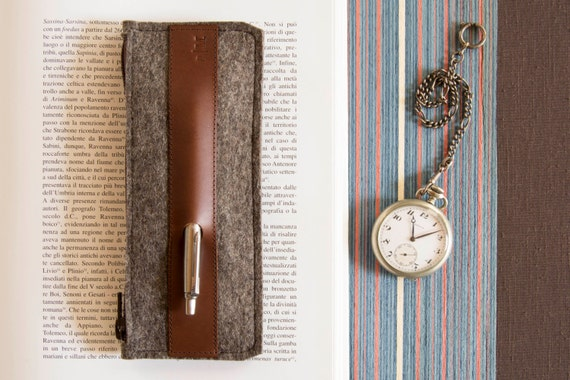 Felt and leather PENCIL CASE, sunglasses case, pen holder, grey and brown, wool felt, handmade, made in Italy