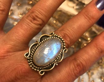 Sterling silver jewelry moonstone  rings
